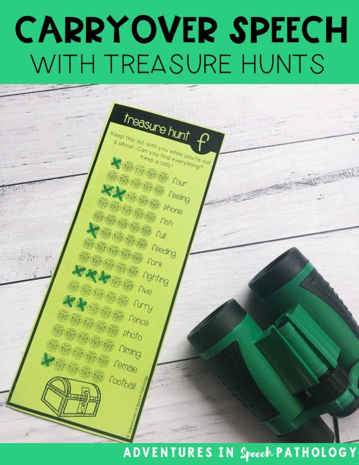 Carryover speech with treasure hunts